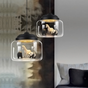 Metal Base Clear Glass Hanging Light 1 Light Black Pendant Light with Animal Decor(not specified we will be random shipments)