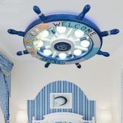 Blue Ship Wheel Ceiling Light Nautical Plastic 8 Lights Flush Mount Light for Kids Room