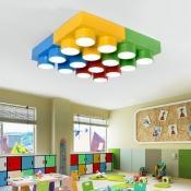 Creative Unique Toy Block Flush Light Modern Colorful Acrylic LED Ceiling Lamp for Kindergarten