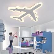 Airplane Shape Ultra-Thin Boys Room LED Ceiling Light 21.25 Inch