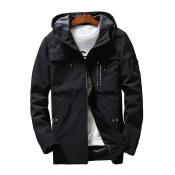 Cool Badge Embellished Long Sleeve Zip Closure Hooded Jacket for Men