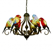 3/6-Light Multicolored Parrot Tiffany Stained Glass Chandelier in Shabby Chic Style