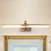 Delicate Design Antique Brass Linear Vanity Light 8/10/12W 3000/4000/6000K Acrylic Shade Vanity Lights for Dressing Room Bathroom Bedroom