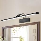 Head Rotating Metal LED Tube Vanity Light 9W-16W Adjustable Warm White Light Arch Arm LED Picture Light in Black for Living Room Bathroom Bedside