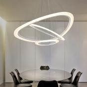 Anti-glare Modern Lighting Single Tiered/Multi Tiered Acrylic LED Oval Chandelier 11/34/68W 9.84