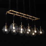 Antiqued Brass 6/8/10 Light LED Linear Pendant Light Dining Room Bar Counter High Brightness Globe LED Chandeliers with Clear Glass Shade (3 Sizes)