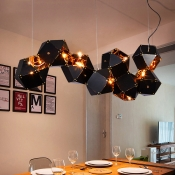 Multi Light LED Chandelier Black and Gold High Brightness Metal Shade Long LED Chandeliers for Hotel Gallery Bar