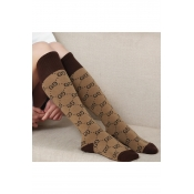 New Stylish Double G Letter Pattern Color Block Stockings