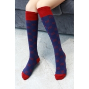 Trendy Double D Letter Printed Color Block Stockings