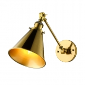 Vintage Antique Brass Wall Lamp in Cone Shade Industrial Metal Single Light Wall Sconce