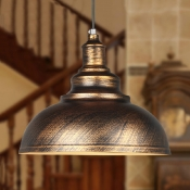 Industrial Pendant Light with Bronze Metal in Dome