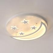 Moon and Star LED Ceiling Light Modern Kids Room Acrylic Flush Mount Light in White/Warm Light, 16