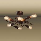 Antique Copper 6 Light Ceiling Light Industrial Wrought Iron Semi Flush Mount Light for Living Room