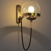 Retro Antique Brass 1-Light Wall Sconce in Globe Shade Decorative Wall Light for Hallway Foyer Restaurant