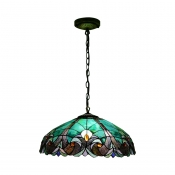 4 Light Dome Pendant Light Tiffany Victorian Stained Glass Drop Light for Restaurant