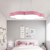 Cloud Shape LED Hanging Pendant Lights Kids Room Metal 1 Light Pendant Lamp in Acrylic