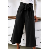 Trendy Bow-Tied High Waist Basic Solid Loose Fitted Wide-Leg Pants