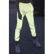Women's Hip Hop Style Elastic Waist Luminous Gray Sports Track Pants