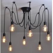 8 Light Edison Bulb LED Multi Light Pendant Black Spider Chandelier for Living Room Restaurant