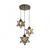 Ripple/Clear Glass Star Pendant Lamp Contemporary 3 Heads Suspension Light for Kids