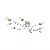 Brushed Nickel 8 Light Semi Flush Ceiling Light in Industrial Style for Living Room Clothes Stores