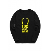 Cozy Long Sleeve Letter I DO WHAT I WANT Printed Round Neck Loose Tee