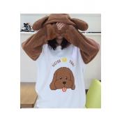 Fashion Colorblock Cartoon Letter Dog Pattern Long Sleeve Khaki Fleece Ear Hoodie