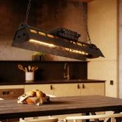 Industrial Wrought Iron Multi Light Pendant in Rust