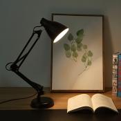 Adjustable Arm Desk Light Modern Simple Metal 1 Light Desk Lamp in Black for Study Room