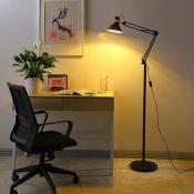 Adjustable 1 Bulb Cone Standing Light Modern Design Metallic Floor Light in Black