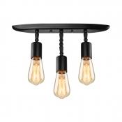 Industrial Vintage Semi-Flush Mount Ceiling Light in Black, Triple Light