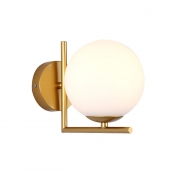 Single Light Orb Sconce Light Modern Chic Milky Glass Wall Mount Light in Gold Finish for Coffee Shop