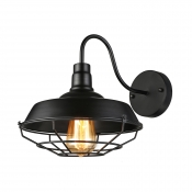 Barn Shade 1 Light Wall Sconce with Wire Guard in Matte Black for Warehouse Farmhouse Porch