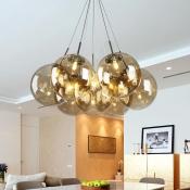 Cognac Glass Orb Cluster Pendant Light Modern Multi Light Hanging Light for Living Room