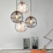 Designers Style Globe Pendant Light Cognac/Smoke Glass 1 Bulb Suspension Light for Bedroom
