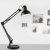 Adjustable 1 Light Dome Desk Light Contemporary Steel Desk Lamp in Black for Bedside