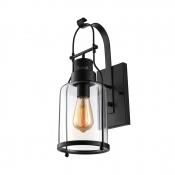 Rustic Loft Style Industrial Metal Lantern Wall Sconce in Black Finish