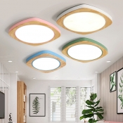 Nordic Style Square LED Flush Light Wood Flush Ceiling Light for Living Room in Warm/White