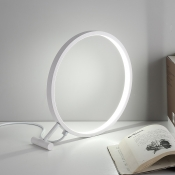 Warm/White Ring Standing Table Lamp Nordic Style Metallic Accent Table Light for Bedside