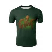 New Trendy 3D Cute Cartoon Pattern Green Short Sleeve Fitted T-Shirt for Men