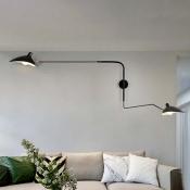 Swing Arm Wall Mount Light with Duckbill Shade Modern Chic Metallic 2 Heads Sconce Light
