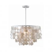 1 Light Fountain Hanging Lamp Modern Design Shelly Ceiling Pendant Light in Silver