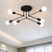 Industrial Concise Linear Semi Flush Light with Open Bulb Metal 6/8 Lights Ceiling Light in Matte Black