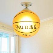 Basketball 1 Light Lighting Fixture Sport Theme Glass Shade Semi Flush Light for Boys Bedroom