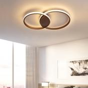 Brown Circular Ring Flush Light Modernism Minimalist Metal LED Lighting Fixture for Living Room