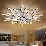 Multi Light 2 Tiers Ceiling Lamp Modernism Acrylic Shade LED Semi Flush Mount for Restaurant