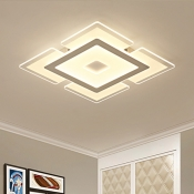 Nordic Ultrathin LED Flush Mount with Square Acrylic Shade Ceiling Fixture in Warm/White