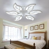 6-LED Leaf Design Semi Flush Light Nordic Style Acrylic Ceiling Flush Mount in Warm/White/Neutral
