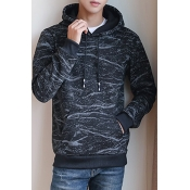 Men's Fashion Texture Printed Long Sleeve Loose Casual Hoodie