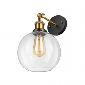 Industrial Glass Globe Wall Sconce in Antique Brass with Clear Glass for Bedside Foyer Hallway